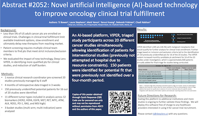 Abstract #2052: Novel artificial intelligence (AI)-based technology to improve oncology clinical trial fulfillment